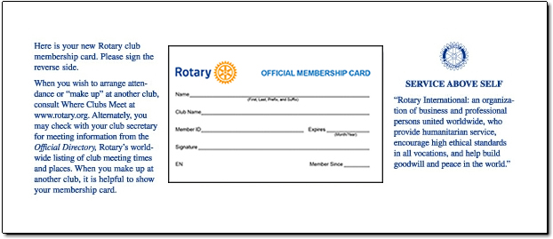 Rotary Membership Card OnLine Order Form – Membership Card Samples